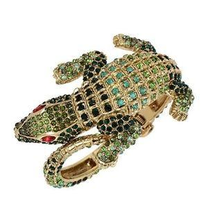 Betsey Johnson Crystal Alligator Hinge Bracelet